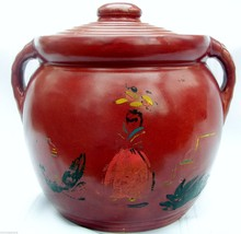 Stoneware Candy Bisquit Cookie Jar Red with Lid & Handles Vintage Large ... - $14.65