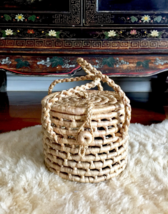 Mini Round Basket Bag,Round Straw Bag Tote,Woven Straw Bag,Straw Basket ... - $99.11 CAD