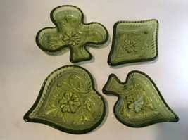 Indiana Glass Daisy Green Pattern Card Ashtray Set 4 Heart Club Diamond ... - $30.89