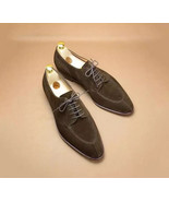 Handmade Men's Bespoke Brown Lace up Ankle Suede Shoes - $159.97+