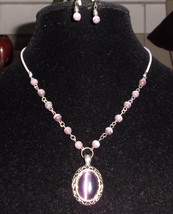 Vtg Silver Tone Amethyst Cabochon Stone Glass Beaded Necklace & Earring Set - $24.75