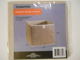 Essentials Tan Collapsible Storage Bin Container with Handle, 9x9x8 in. - £5.33 GBP
