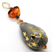 18K YELLOW GOLD PENDANT, AMBER, CITRINE POTTERY DROPS HAND PAINTED IN ITALY STAR image 2