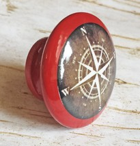 "4 Handmade Compass Birch Wood Knob Pulls, 1.5"" Tuscan Red Painted Drawer... - $23.76"