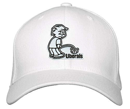Donald Trump Peeing on Liberals Hat - Funny Cap Adjustable (White)
