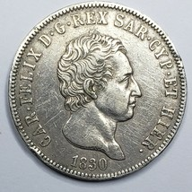 1830 P SILVER SARDINIA ITALIAN STATE 5 LIRE CARLO FELICE COIN Lot A 158