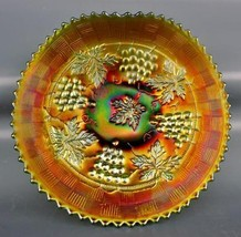 CARNIVAL GLASS - NORTHWOOD GRAPE & CABLE Green Single-Hand-Grip Plate 4408 - $76.50
