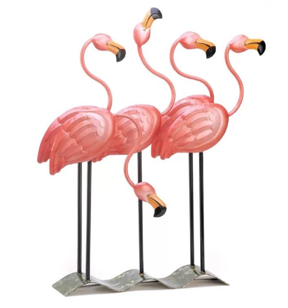 Pink Flamingos Garden Lawn Ornament Flamingo Statue Metal Art Patio Home Decor