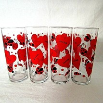 Love Bug Ladybug Tall Drinking Glass Hearts Anchor Hocking Set of 4 Vint... - $24.75