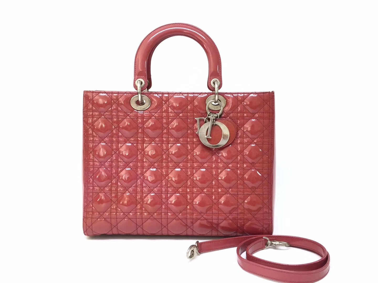 Primary image for Authentic Christian Dior Lady Dior Large Red Patent Shoulder Tote Bag GHW