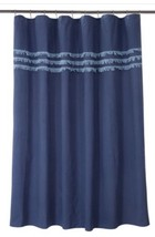 New Threshold Eyelash Fringe Shower Curtain Blue Cotton Linen 72X72 - $11.69