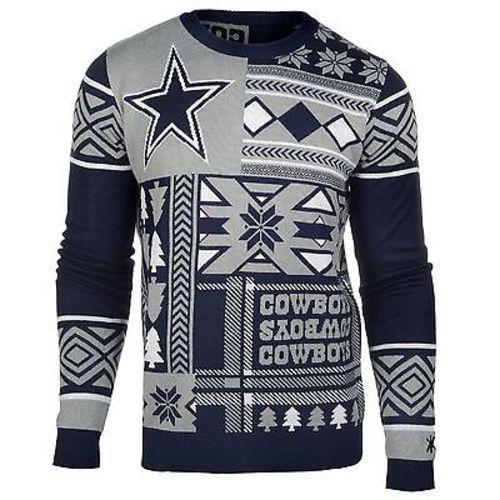 Used, Ugly Christmas Sweater Nfl Dallas Cowboys Patches Football Xmas Crew Neck for sale  USA