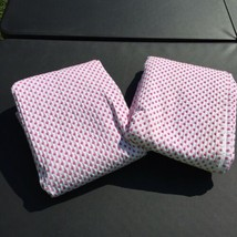 "2 White Pink Chenille Polka Dots Audrey Curtain Panels Pottery Barn 44"" ... - $38.69"