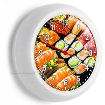 Sushi Roll Tuna Fish Sashimi Salmon Japanese Restaurant Wall Clock Bar Art Decor - $23.39