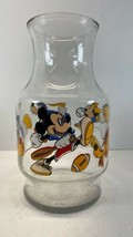 DISNEY Vtg Mickey Minnie Donald Carafe Pitcher Decanter GLASS vase No Lid - $8.86