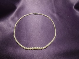 Vintage Graduated Faux Pearl Necklace with Rhinestone Clasp Choker Lengt... - $24.75
