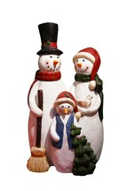 12 Inch Snowman Family Statue - $62.00