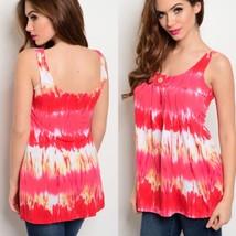 Pink Coral Tie Dye Tank Top Button DetailSz Medium - $23.51