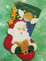 Guardian Angel Santa Claus Stocking Bucilla Holiday Time Felt Applique Kit NEW - $29.99