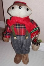 Fox Country Christmas Plaid Shirt & Overalls Standing Table Decoration 1... - $7.62
