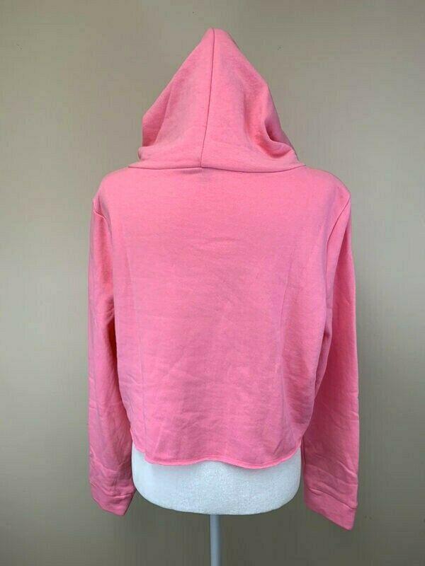 NEW Victoria's Secret Pink L Large Cropped Hoodie Sweatshirt Black Logo
