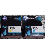 New Genuine HP 920Color Officejet Ink Combo 2 Pack Cyan, Yellow 12/2012 ... - $14.30
