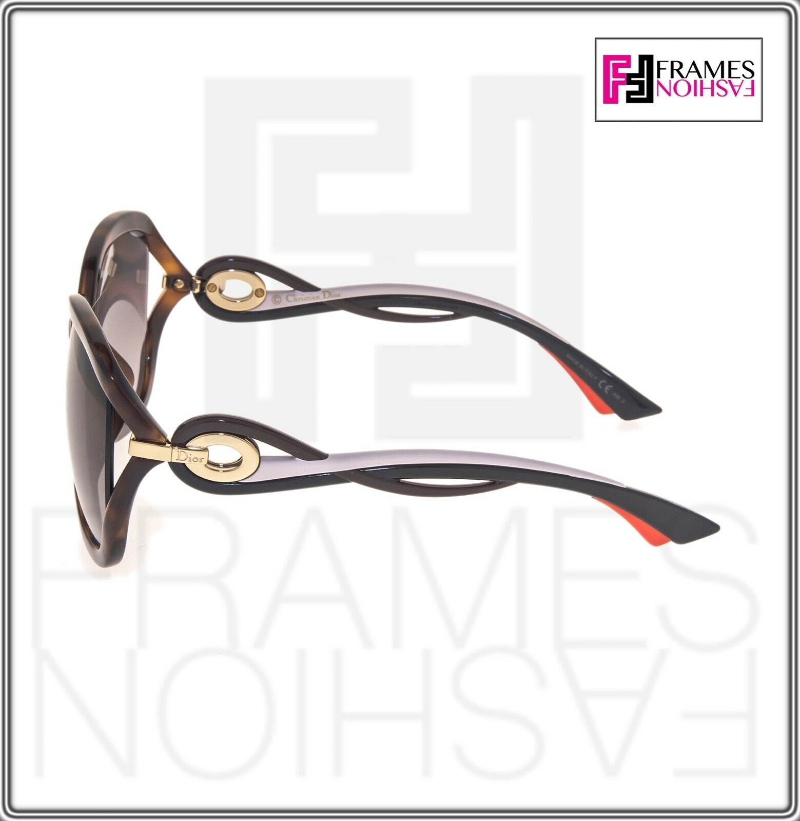 CHRISTIAN DIOR TWISTING Brown Havana Pink Rubber Gradient Sunglasses Authentic