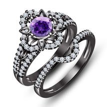 Solid Black Gold Finish 925 Silver Round Amethyst Flower Shape Bridal Ring set - $101.50
