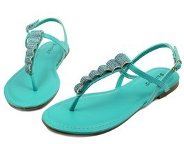 Josalyn-19 Precious Stone Flats Cute Sandals Gladiator Party Women Shoes Mint - $12.59