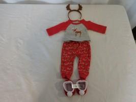 American Girl Festive Reindeer Doll Pajamas Top Pants Slippers Headband EUC - $17.84
