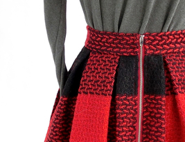 BLACK PLAID Midi Skirt Women Classy Winter Long Plaid Skirt Outfit Plus Size  image 10