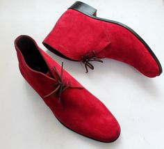 Men's Handcrafted Red Suede Leather Stylish Party Wear Chukka Lace up Boots - $159.99+