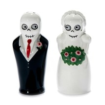 NEWLYDEADS SALT AND PEPPER SHAKERS Pair Set Ceramic Skeleton Bride Groom... - $16.88