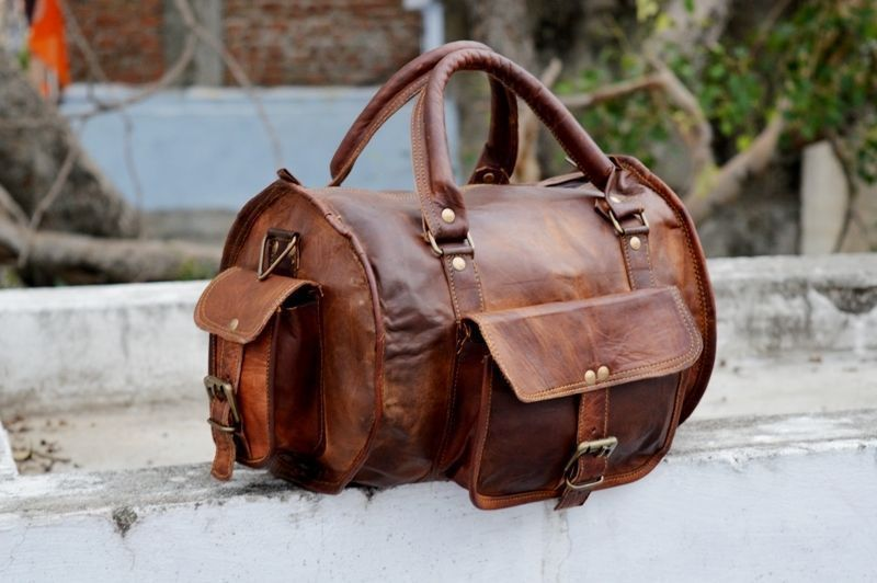 New Genuine Luggage Rustic Leather Duffel Men Travel Gym Overnight Weekend Bag