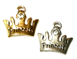 PRINCESS CROWN WITH CRYSTAL CHARM FINE PEWTER PENDANT CHARM - 15x13x3mm image 2