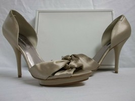 BCBG Max Azria Size 10 M Shannon Champagne Satin Open Toe Heels New Womens Shoes - $147.51