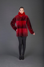 Luxury gift/Burgundy and red  Beaver Fur Coat/Fox collar/Fur jacket /Wed... - $1,250.00