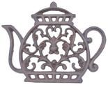 "Tea Kettle Trivet Ornate Decorative Cast Iron Kitchen Decor Hot Pad 7.25"""