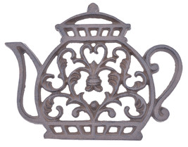 "Tea Kettle Trivet Ornate Decorative Cast Iron Kitchen Decor Hot Pad 7.25"" - $13.99"