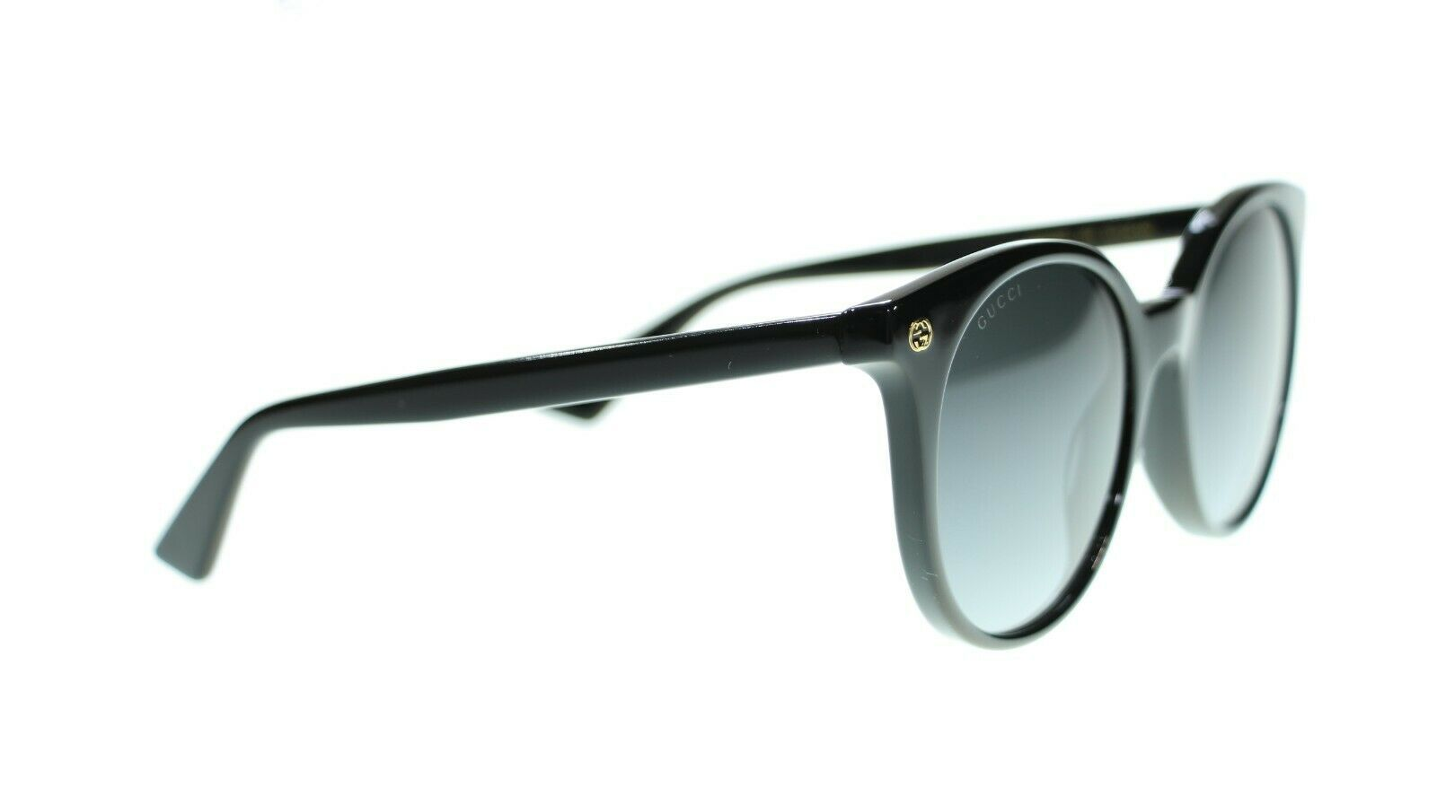 Gucci Women Round Sunglasses GG0091S 001 Black/Grey Gradient Lens 52mm