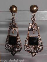VTG Gold Tone Black Enamel Flower Openwork Dangle Earrings - $7.92