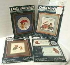 Vtg Lot 4 Country Cross Stitch Kits NEW Teddy Bears Toys 1980s Dale Burdett  - $25.20