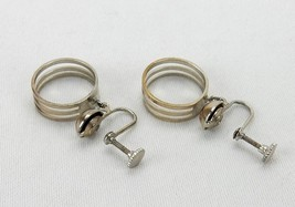 Vintage Costume Jewelry, Silver Tone Triple Ring, Clip On Dangle Earring... - $6.81