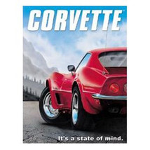 CHEVY Corvette It's A State of Mind Ad Tin Sign LIGHT SCRACTHED - $4.99