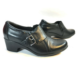 CLARKS Collections black leather cushioned ankle shootie pumps 9.5 FREE SHIP - $42.52