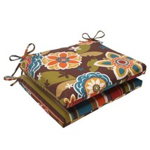 Pillow Perfect Indoor/Outdoor Annie Westport Reversible Squared Seat Cushion, Ch