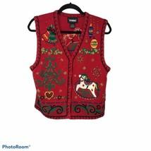 Designers Studio Originals Christmas Sweater Vest Embellished Holiday Wo... - $24.26