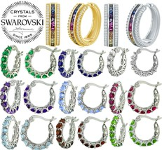 18K White Gold Women Rainbow Hoop Earring Made with Swarovski Crystals - $9.99