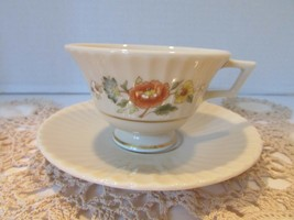 LENOX BONE CHINA TEMPLE BLOSSOM FOOTED TEACUP AND MATCHING SAUCER - $14.80