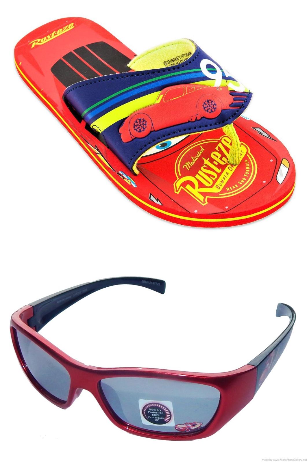 DISNEY CARS LIGHTNING McQUEEN Flip Flops w/ Optional Sunglasses Beach Sandals